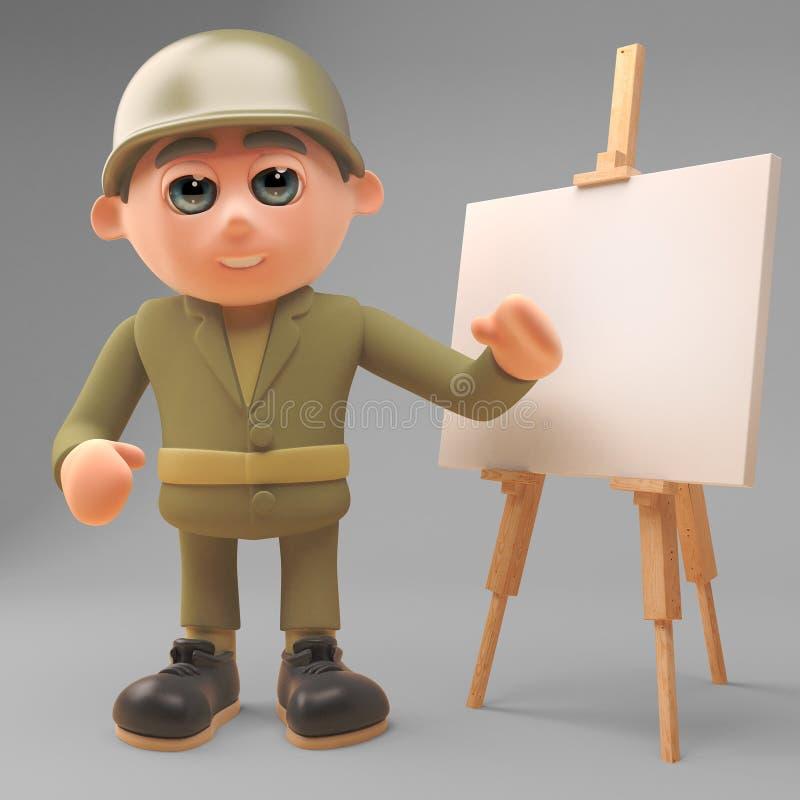 De strategische gelete op plannen van de legermilitair op de schildersezel, 3d illustratie stock illustratie