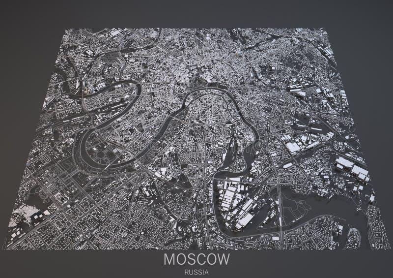 De straten en de gebouwen 3d kaart van Moskou, Rusland vector illustratie