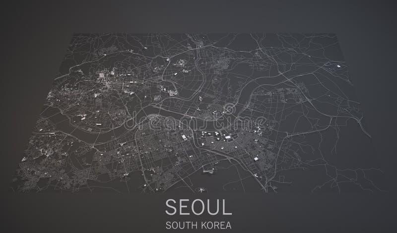 De straten en de gebouwen 3d kaart van Seoel, Zuid-Korea stock illustratie