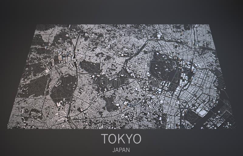 De straten en de gebouwen 3d kaart van Tokyo, Japan royalty-vrije illustratie
