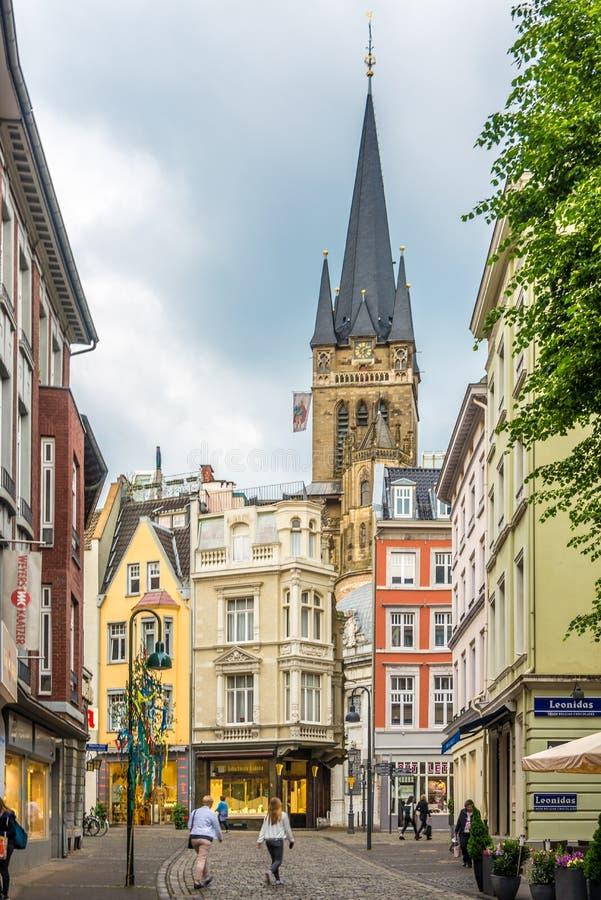 In de straten van Aken - Duitsland stock foto