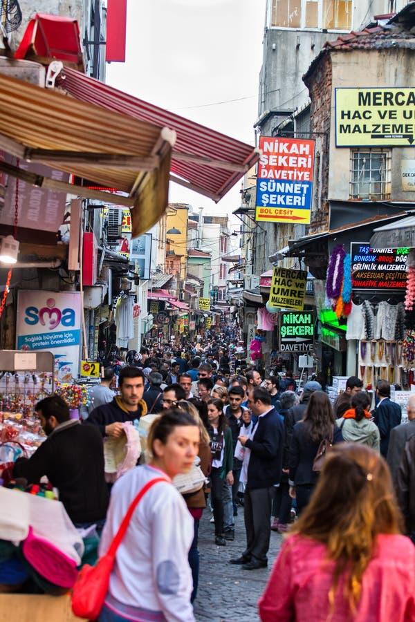 De straten van Crowdyistanboel royalty-vrije stock foto's