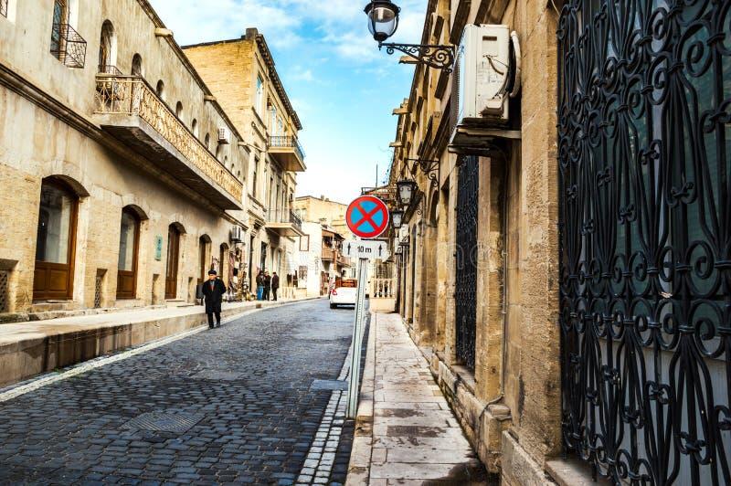 De straten van de oude stad - Icheri Sheher stock foto