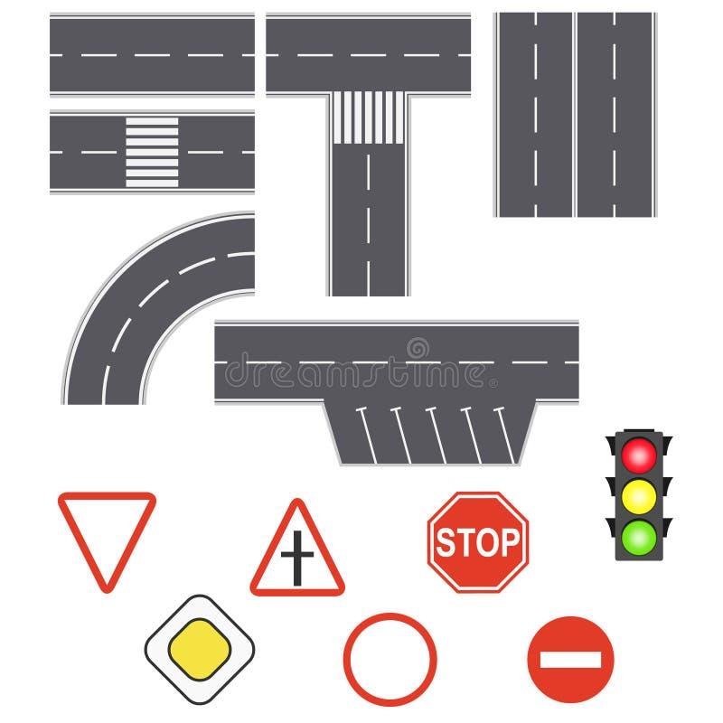 De straten van het de wegverkeer van het wegasfalt E Reeks verkeersteken royalty-vrije illustratie