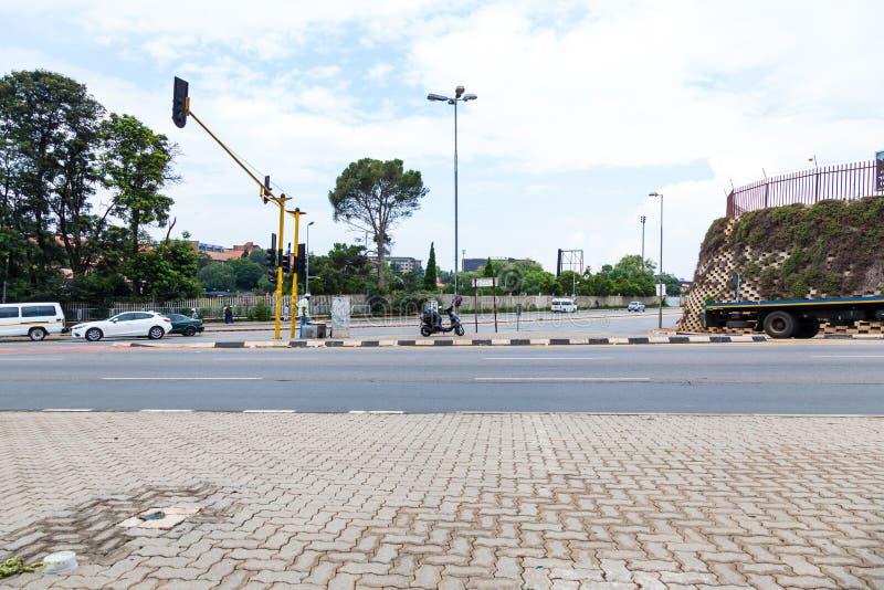 De straten van Johannesburg, bij een kruising stock foto