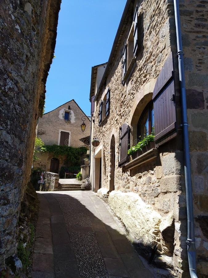 De straten van Najac, Frankrijk Schilderachtige bestemmingen stock afbeelding