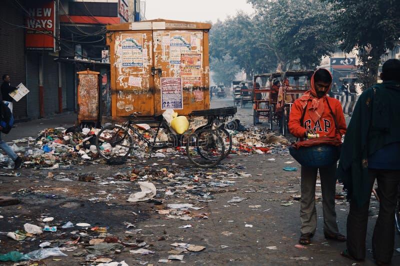 De straten van oud Delhi royalty-vrije stock foto