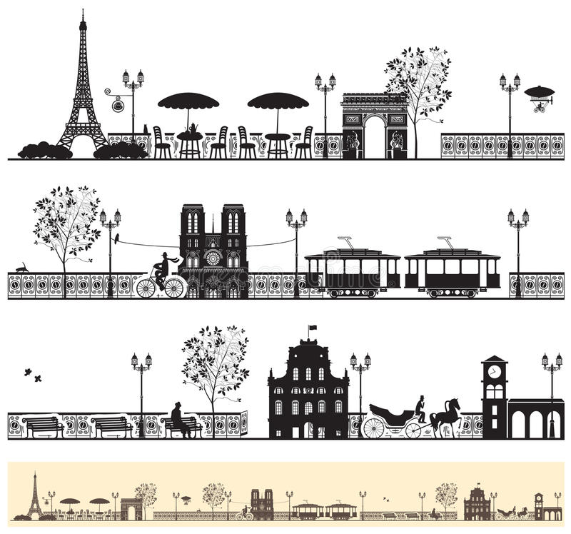De straten van Parijs stock illustratie
