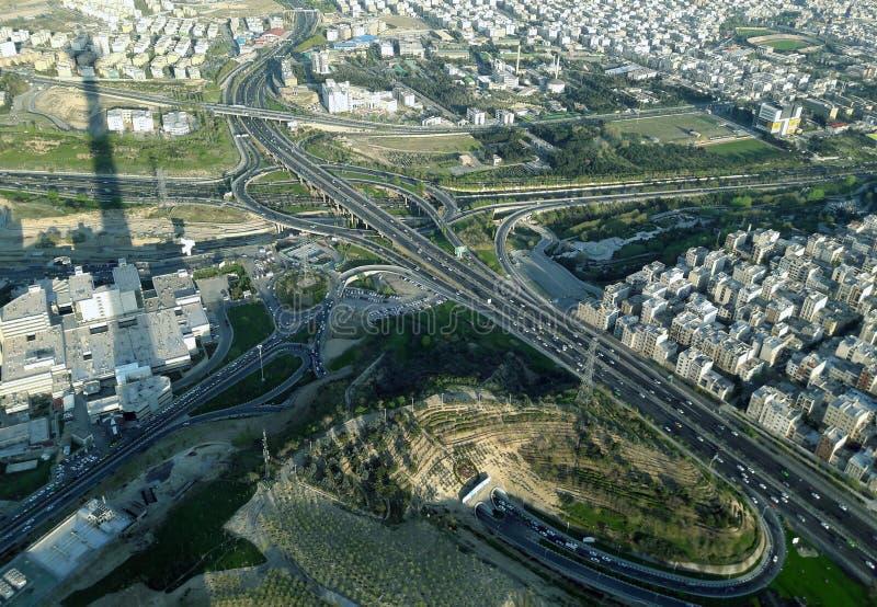 De straten van Teheran in luchtmening royalty-vrije stock foto's