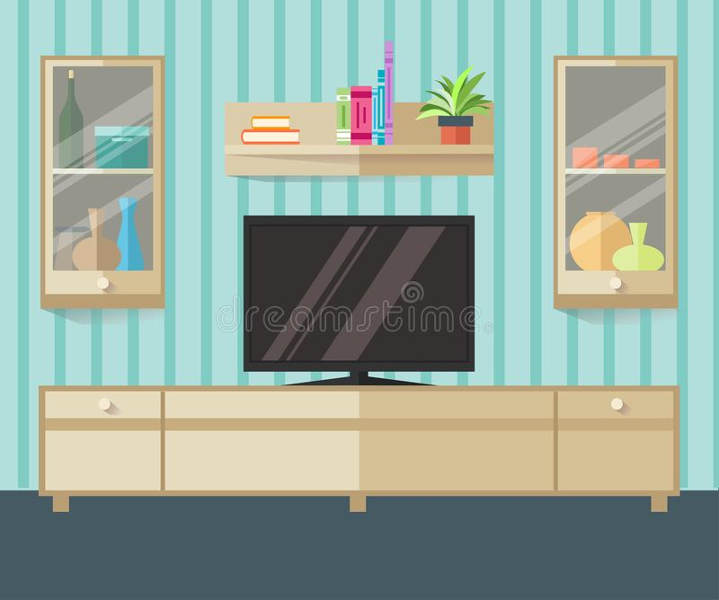 De streek van ontwerptv in een vlakke stijl Binnenlandse woonkamer met meubilair, TV en plank Vector illustratie stock illustratie