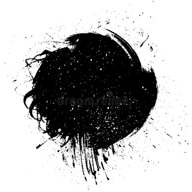 De streep van de Grungeverf Vectorborstelslag Verontruste banner Zwart geïsoleerd penseeletiket stock illustratie