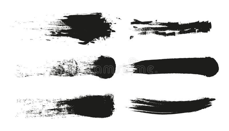 De streep van de Grungeverf Vectorborstelslag Verontruste banner Zwarte geïsoleerde penseelinzameling Moderne Geweven vorm vector illustratie