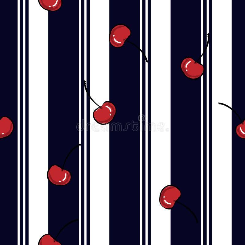 De streep van de de zomertoevlucht met vers rood kersen naadloos patroon vector illustratie