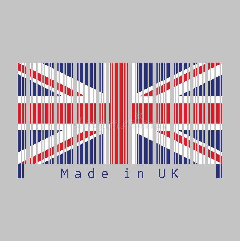 De streepjescode plaatste de kleur van Britse vlag, Union Jack en tekst: Gemaakt in het UK royalty-vrije illustratie