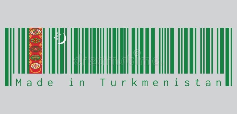 De streepjescode plaatste de kleur van Turkmeense vlag, groen gebied met rode streep die tapijt vijf bevatten die guls boven gekr vector illustratie