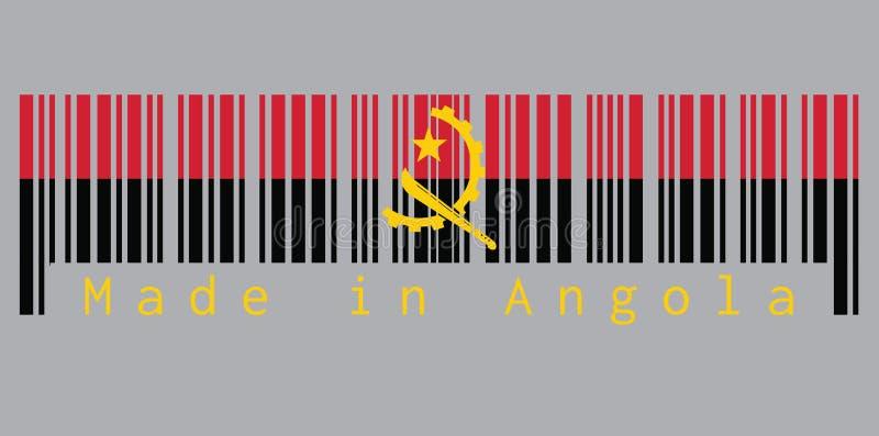 De streepjescode plaatste de kleur van de vlag van Angola, rood en zwarte met de Machete en Toestelembleem op grijze achtergrond  stock illustratie