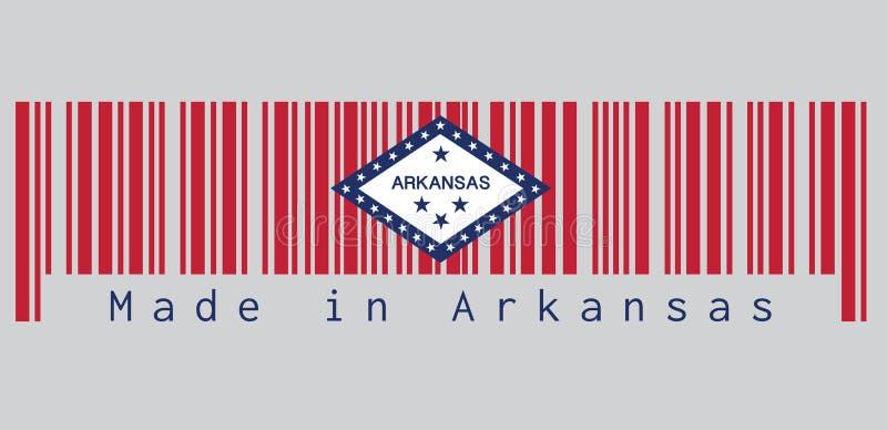 De streepjescode plaatste de kleur van de vlag van Arkansas, het rechthoekige gebied van A van rood, een grote witte die diamant, stock illustratie