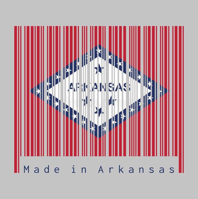 De streepjescode plaatste de kleur van de vlag van Arkansas, het rechthoekige gebied van A van rood, een grote witte die diamant, royalty-vrije illustratie
