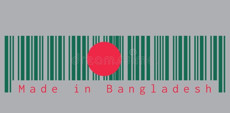De streepjescode plaatste de kleur van de vlag van Bangladesh, de rode schijf van A op een groen gebied met tekst: Gemaakt in Ban royalty-vrije illustratie