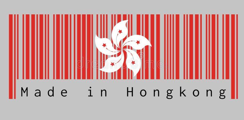 De streepjescode plaatste de kleur van de vlag van Hongkong, de rode en witte blakeanabloem van vijf bloemblaadjebauhinia, op gri vector illustratie