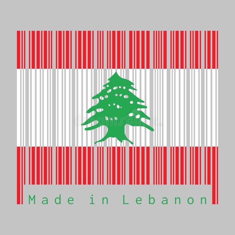 De streepjescode plaatste de kleur van de vlag van Libanon, triband van rood en wit, met een groene Ceder die van Libanon wordt b royalty-vrije illustratie