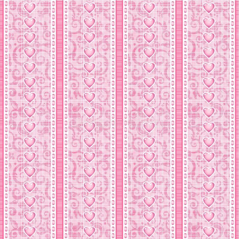 De strepen en het kant doorboren zijdeTulle naadloos patroon stock illustratie