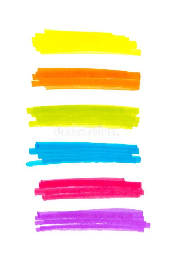 De strepen van het kleurenhoogtepunt, banners met tellers worden getrokken die Modieuze hoogtepuntelementen voor ontwerp de slag  royalty-vrije stock fotografie