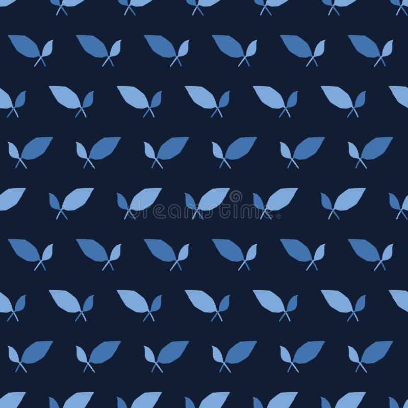 De strepenvormen van het indigo blauwe blad Vectorpatroon naadloze gestreepte achtergrond Hand getrokken bloemen geometrische gra vector illustratie