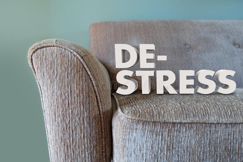 De-Stress 3d Words Couch Mind Body Unwinding stock photo
