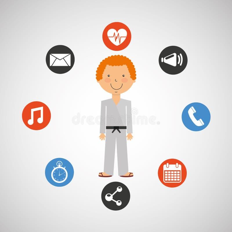 De strijd apps pictogrammen van de sportmankarate stock illustratie