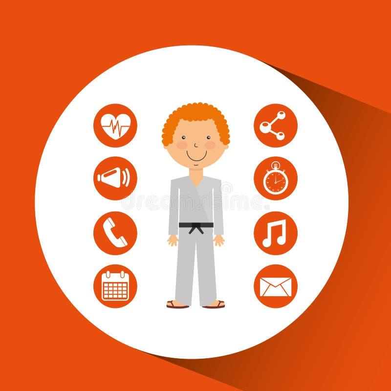 De strijd apps pictogrammen van de sportmankarate vector illustratie