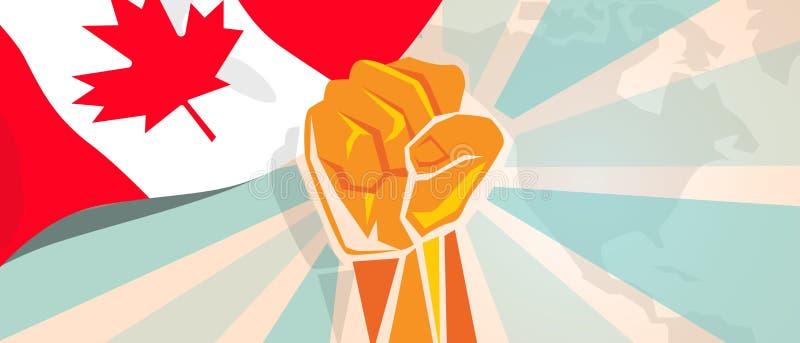 De strijd van Canada en de de strijdopstand van de protestonafhankelijkheid tonen symbolische sterkte met de illustratie en de vl royalty-vrije illustratie