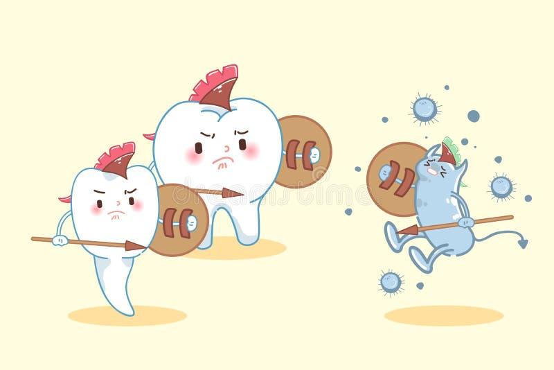 De strijd van de beeldverhaaltand aan bacteriën stock illustratie