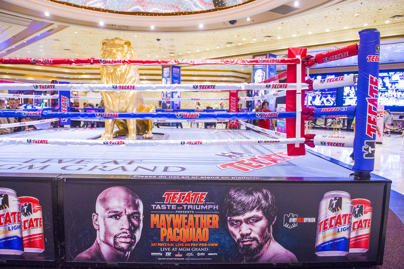 De strijd van Floyd Mayweather en Manny Pacquiao- stock fotografie