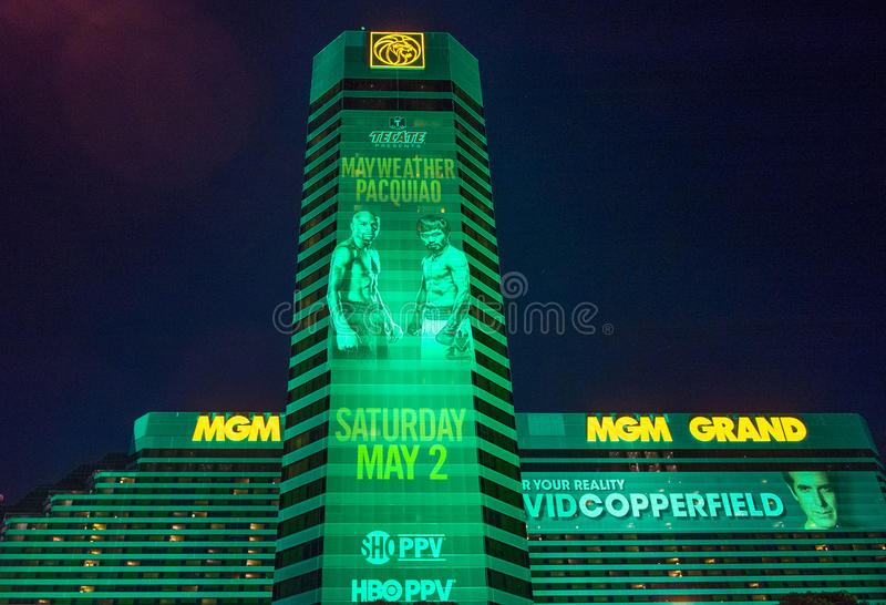 De strijd van Floyd Mayweather en Manny Pacquiao- stock foto's