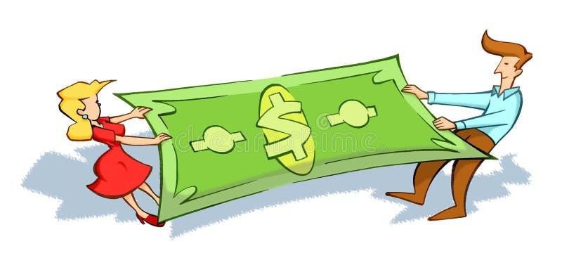 De strijd van het paar voor geld stock illustratie
