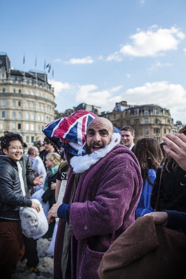 De Strijd van het wereldhoofdkussen Dag Londen stock foto