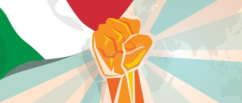 De strijd van Italië en de de strijdopstand van de protestonafhankelijkheid tonen symbolische sterkte met de illustratie en de vl royalty-vrije illustratie