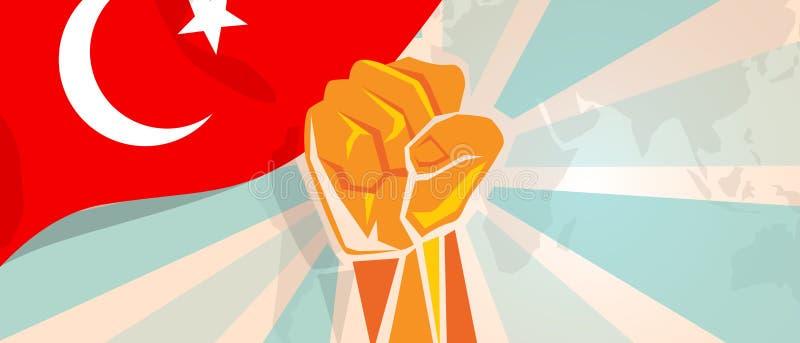 De strijd van Turkije en de de strijdopstand van de protestonafhankelijkheid tonen symbolische sterkte met de illustratie en de v stock illustratie