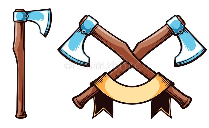 De strijdbijl van Viking Groot gekruist assenembleem met lint stock illustratie
