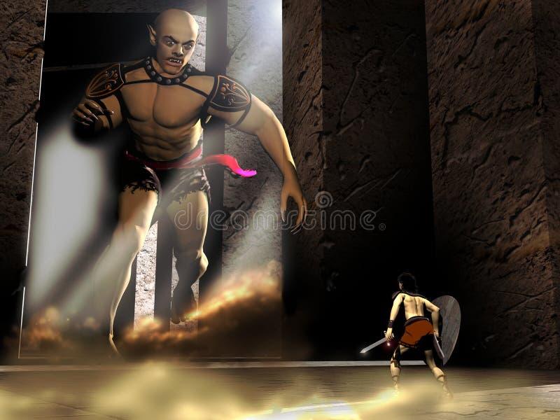 De strijder en de reus royalty-vrije illustratie