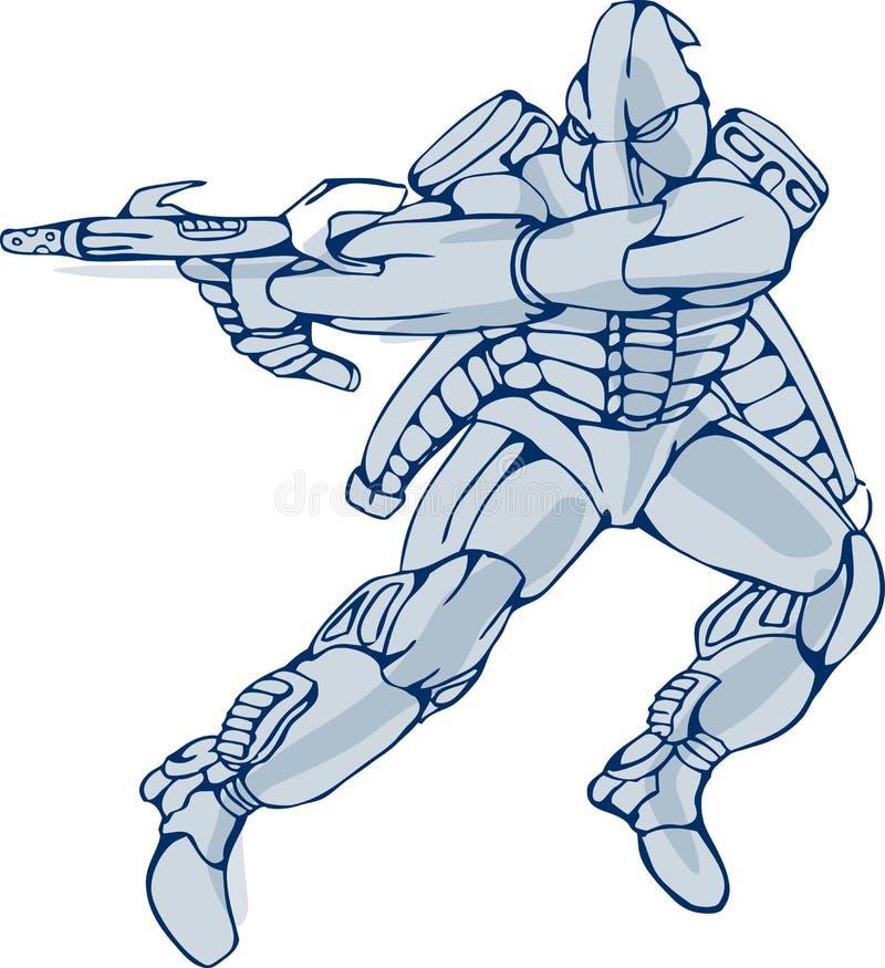 De Strijder van de Robot van Mecha met Ray Gun royalty-vrije illustratie
