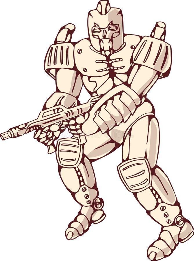 De Strijder van de Robot van Mecha met Ray Gun vector illustratie