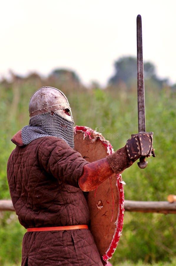 De strijder van Viking klaar te vechten. royalty-vrije stock afbeeldingen