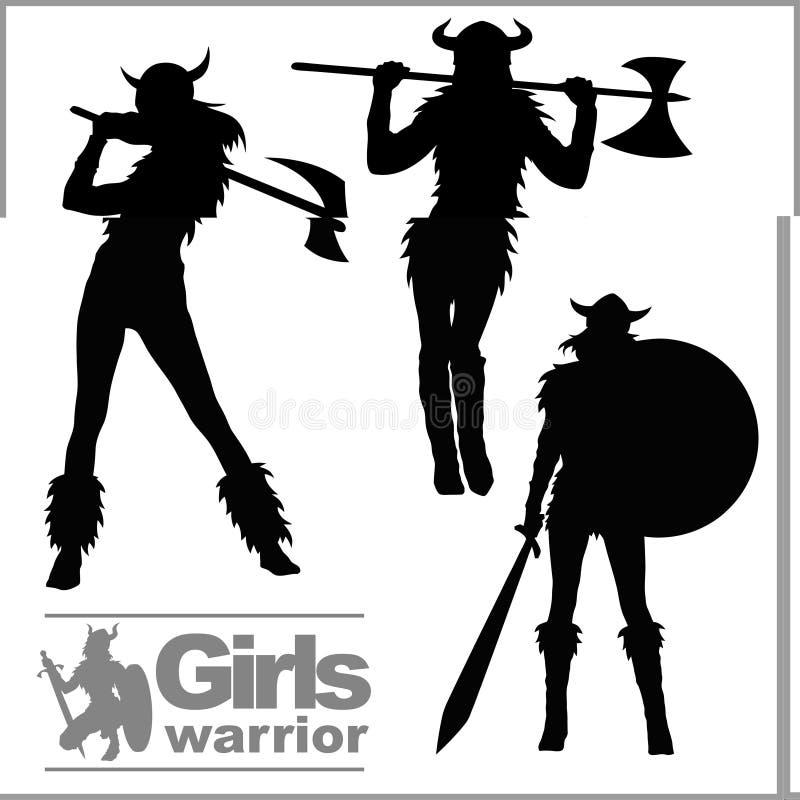 De strijders noords meisje van Vikingen, Skandinavische vrouw in helm Vector silhouetten royalty-vrije illustratie
