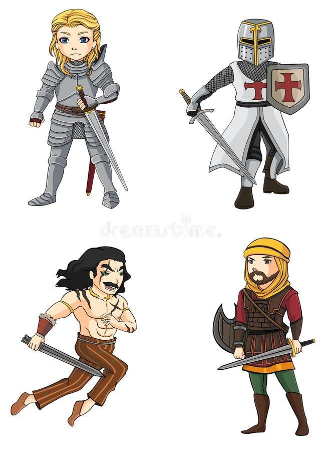 De strijders van diverse cultuur plaatsen 4 (vector) stock illustratie