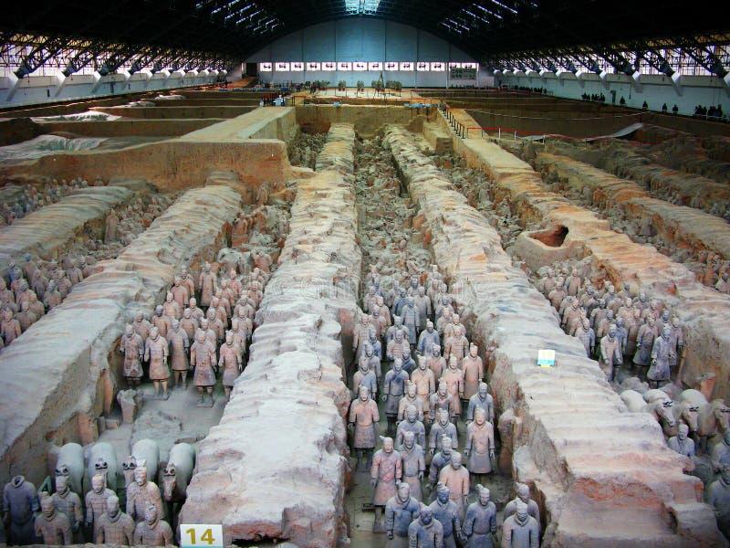 De strijders van het terracotta in Xian, C royalty-vrije stock afbeeldingen