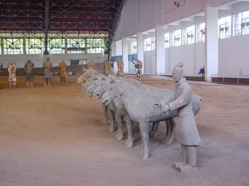 De strijders van het Terracottaleger bij het graf van de Eerste Keizer van China's in Xian De Plaats van de Erfenis van de Were stock fotografie