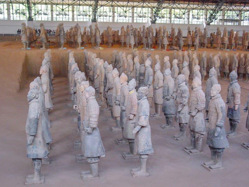 De strijders van het Terracottaleger bij het graf van de Eerste Keizer van China's in Xian De Plaats van de Erfenis van de Were royalty-vrije stock afbeelding