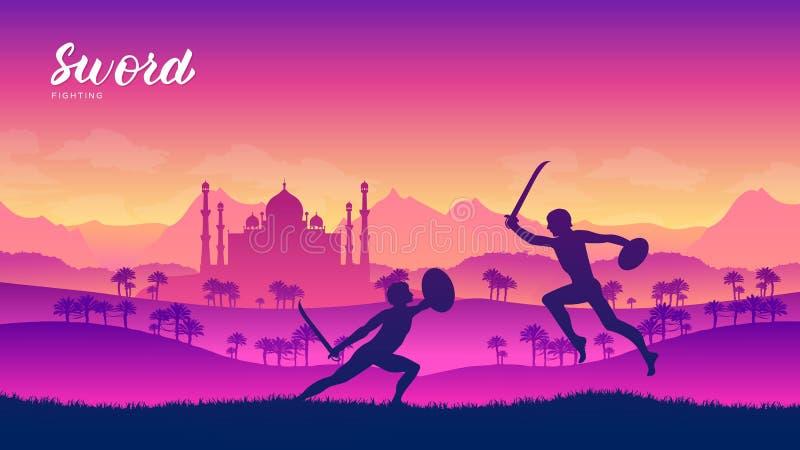 De strijders van India met zwaardvechtsporten van verschillende Naties vector illustratie